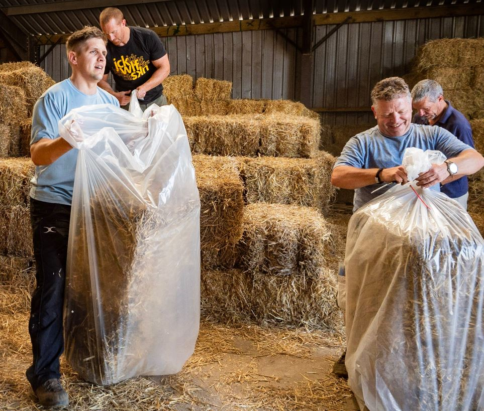 Volunteers bagging up bales of straw for Straw Race 2019